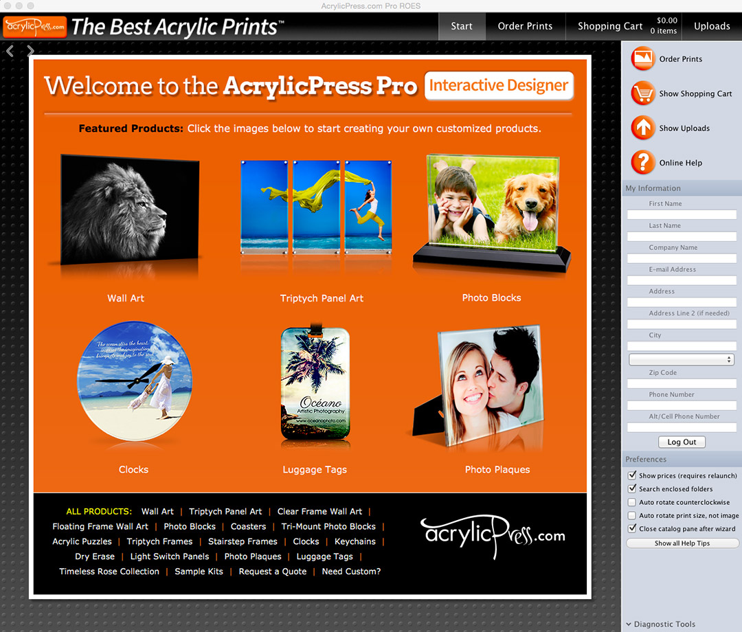 AcrylicPress Pro Interface